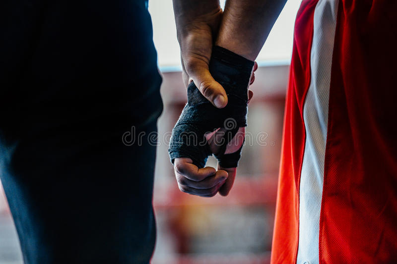 Close-up hand boxer and referee. Winner announced in boxing fight stock image