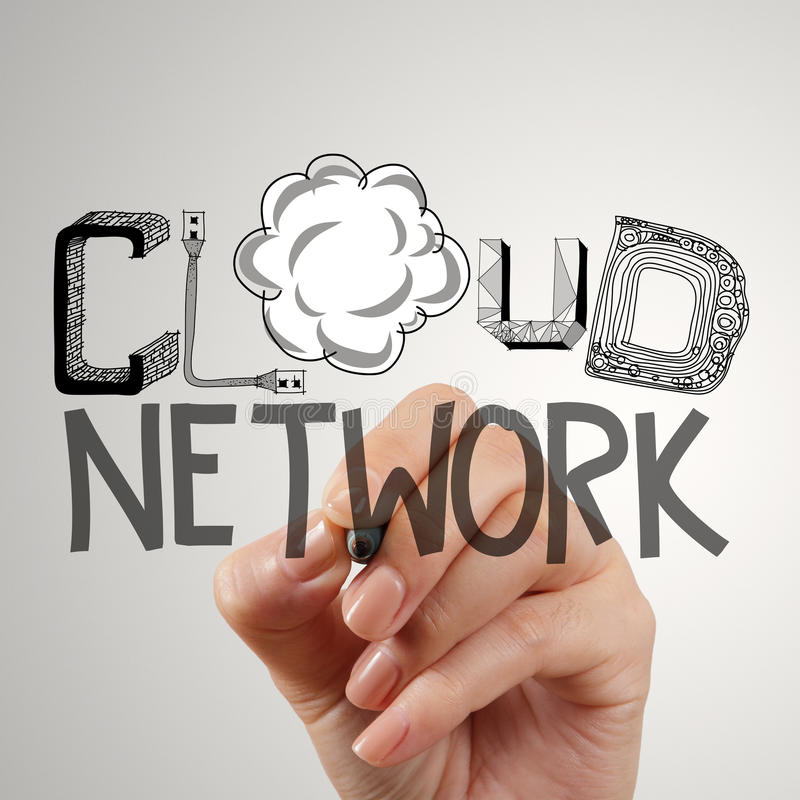 Close up of hand drawing cloud network. As concept royalty free stock photography