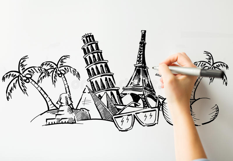 Close up of hand drawing touristic landmarks. People, travel, tourism, summer vacation and graphic arts concept - close up of hand with marker drawing drawing stock illustration
