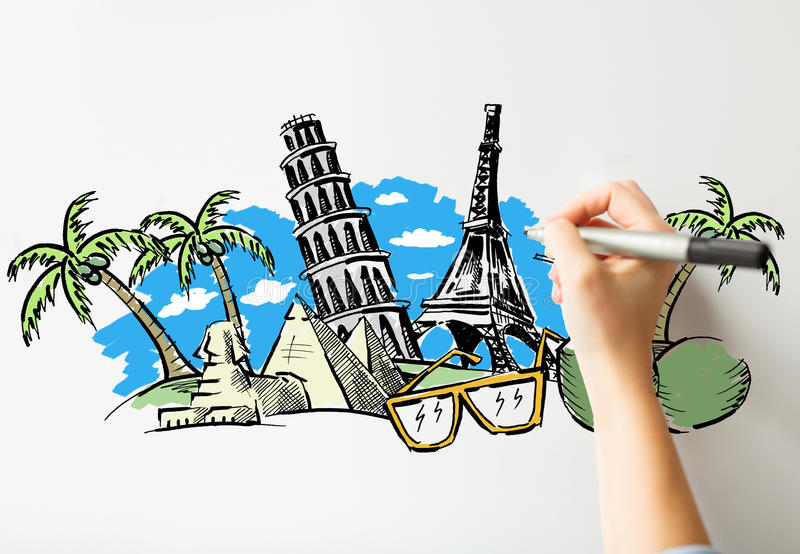 Close up of hand drawing touristic landmarks. People, travel, tourism, summer vacation and graphic arts concept - close up of hand with marker drawing drawing vector illustration