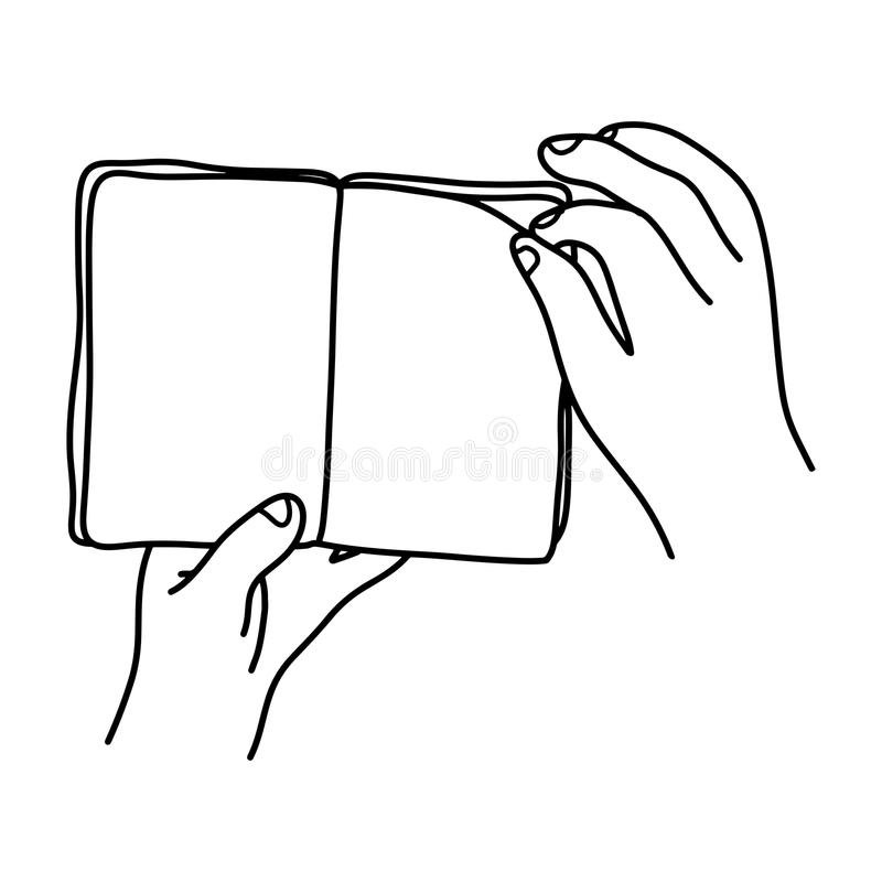 Close-up hand flip over to the next page of a book vector illustration sketch doodle hand drawn with black lines isolated on whit. E background royalty free illustration