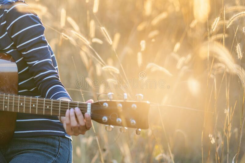 Close up of a hand with a guitar in a brown meadow background royalty free stock image