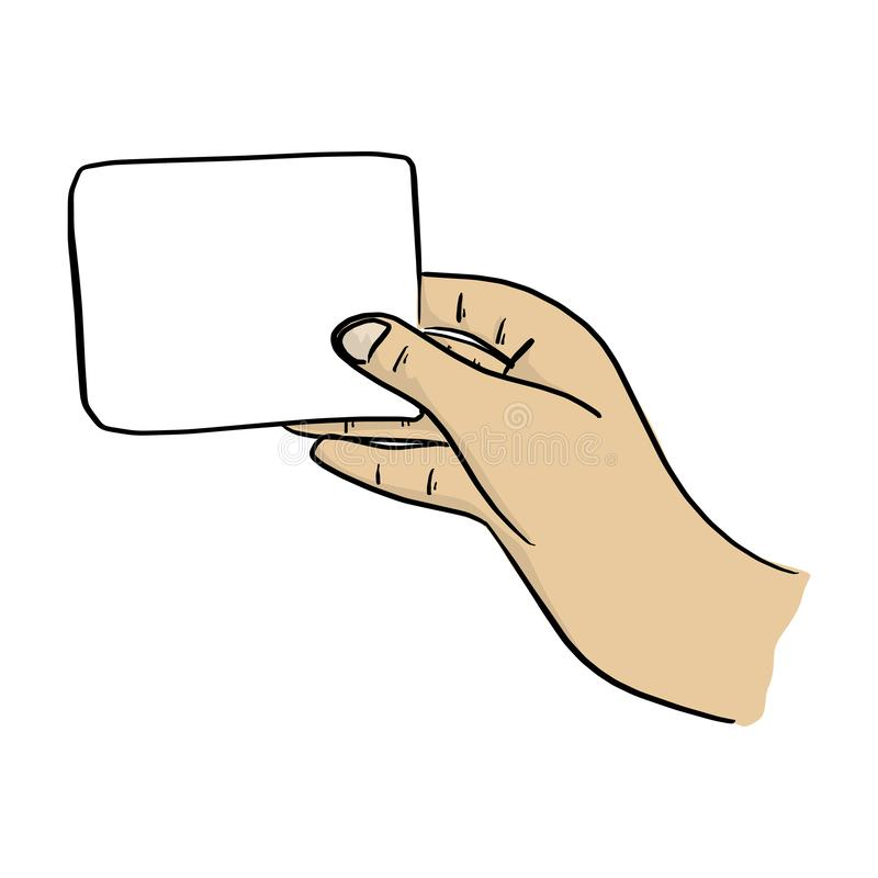 Close-up hand holding blank card vector illustration sketch doodle hand drawn with black lines isolated on white background.  stock illustration