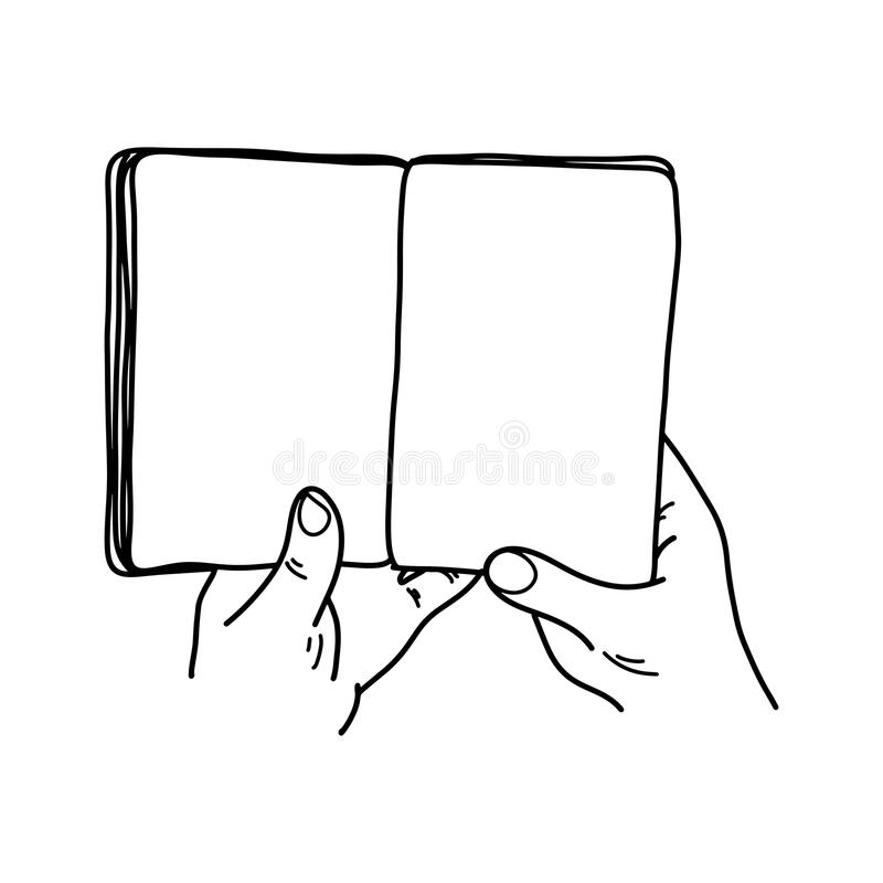 Close-up hand holding book with blank pages vector illustration. Sketch doodle hand drawn with black lines isolated on white background vector illustration