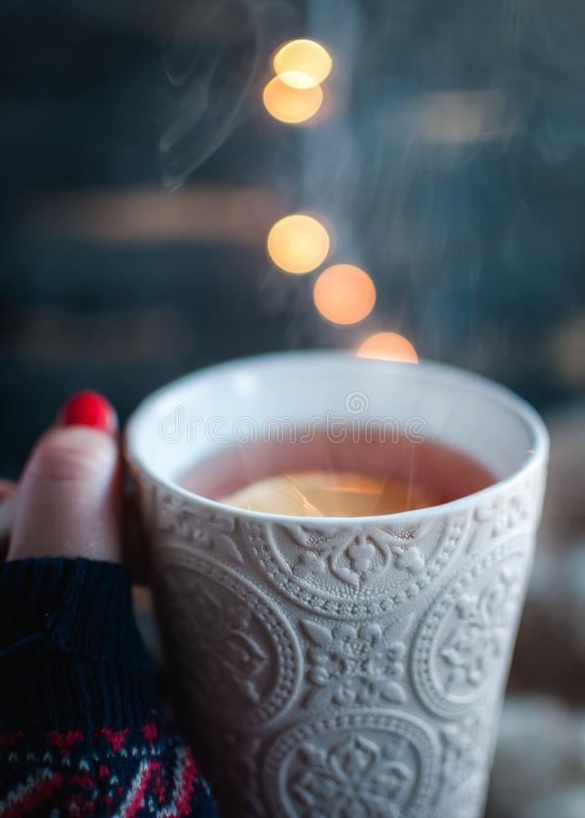 Hot Tea With Lemon In Hand Stock Image  Image Of Leisure