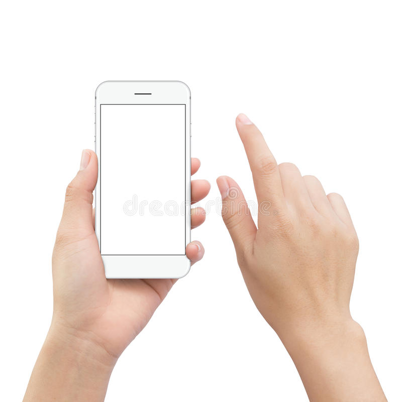 Close-up hand holding smartphone mobile and hand element touch s. Creen isolated on white clipping path inside stock photography