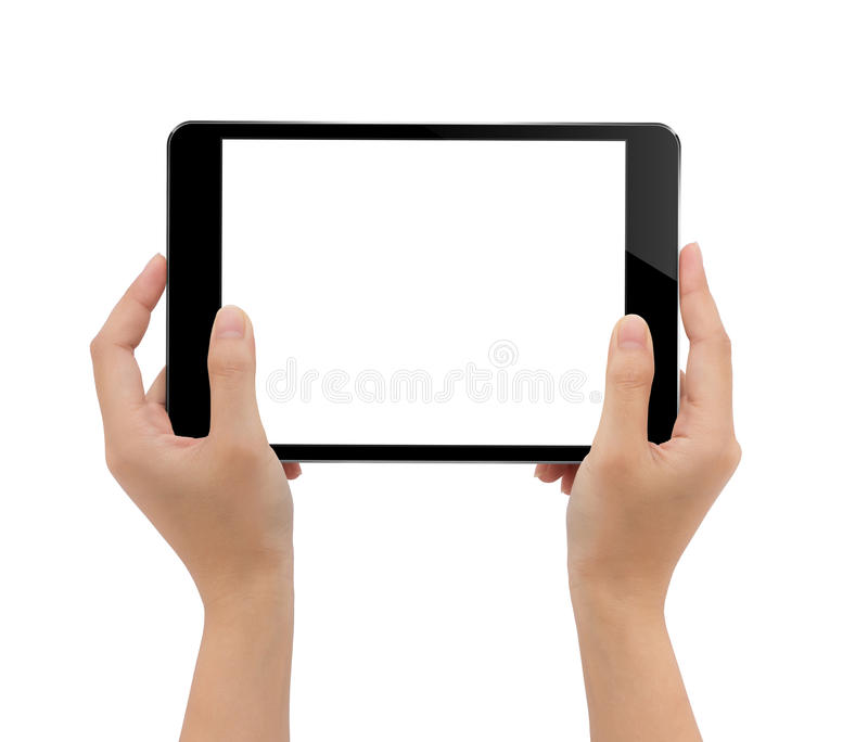 Close-up hand holding tablet isolated white background stock photos