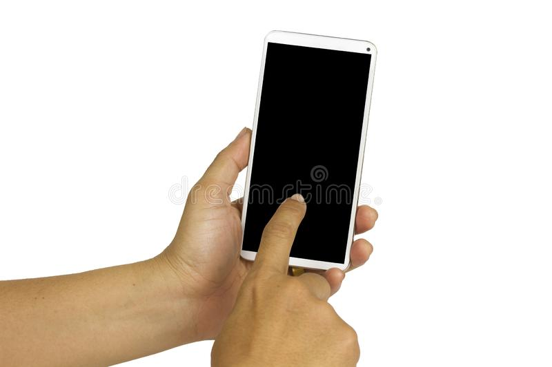 Close-up hand holding white mobile phone with blank black screen on white background with cipping path. Isolated smart woman technology communication iphone stock photo