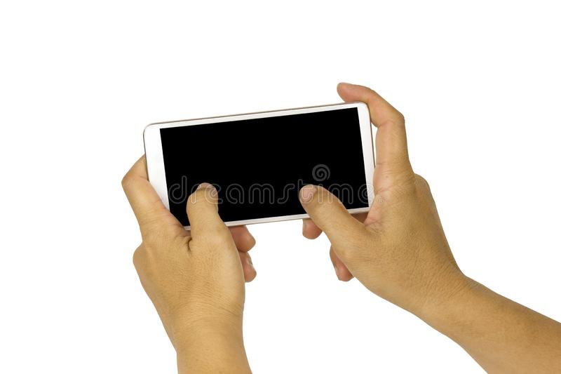 Close-up hand holding white mobile phone with blank black screen on white background with cipping path. Isolated smart woman technology communication iphone royalty free stock photos