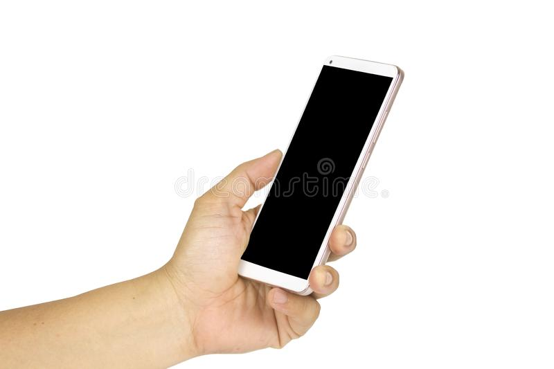 Close-up hand holding white mobile phone with blank black screen on white background with cipping path. Isolated smart woman technology communication iphone stock image