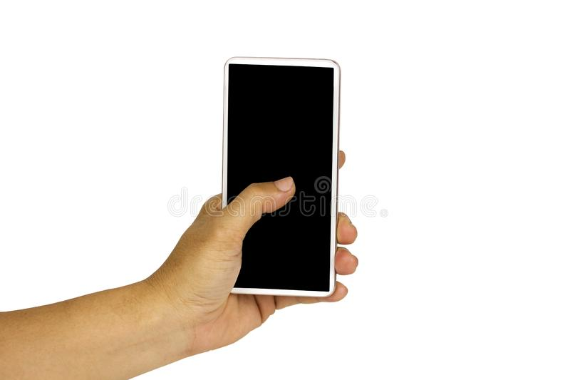 Close-up hand holding white mobile phone with blank black screen on white background with cipping path. Smart woman technology communication iphone cellphone stock photo