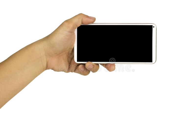 Close-up hand holding white mobile phone with blank black screen on white background with cipping path. Smart woman technology communication iphone cellphone royalty free stock photos