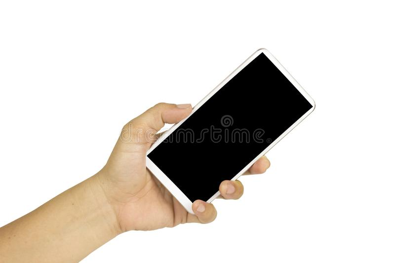 Close-up hand holding white mobile phone with blank black screen on white background with cipping path. Isolated smart woman technology communication iphone stock photos