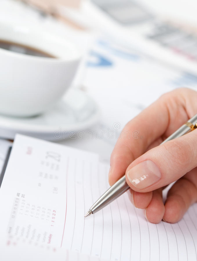 Download Close Up Of Hand Making Notes In The Writing Pad Stock Image - Image: 26880749