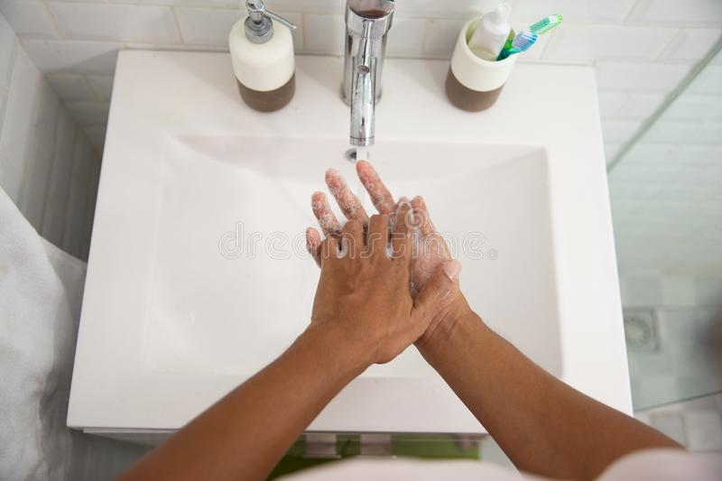 Hand wash on basin using soap. Close up of hand wash on basin using soap stock image