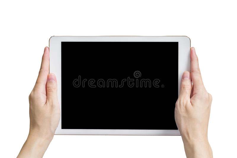 Close up hand woman holding tablet on isolated white with clipping path. royalty free stock photos