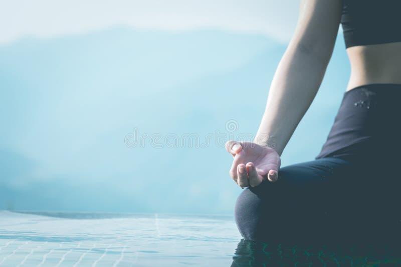 Yoga Meditation Hand By Pool Stock Image - Image of pose ...