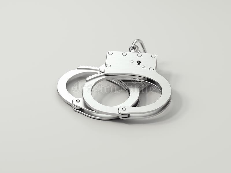 Close up of handcuffs isolated on white background, 3d rendering. vector illustration