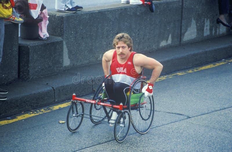 Close-up of handicapped runner in NY City Marathon, NY royalty free stock photography