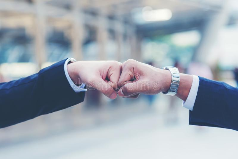 Close up hands businessman and partner working of business people join hand together and start up work. stock images
