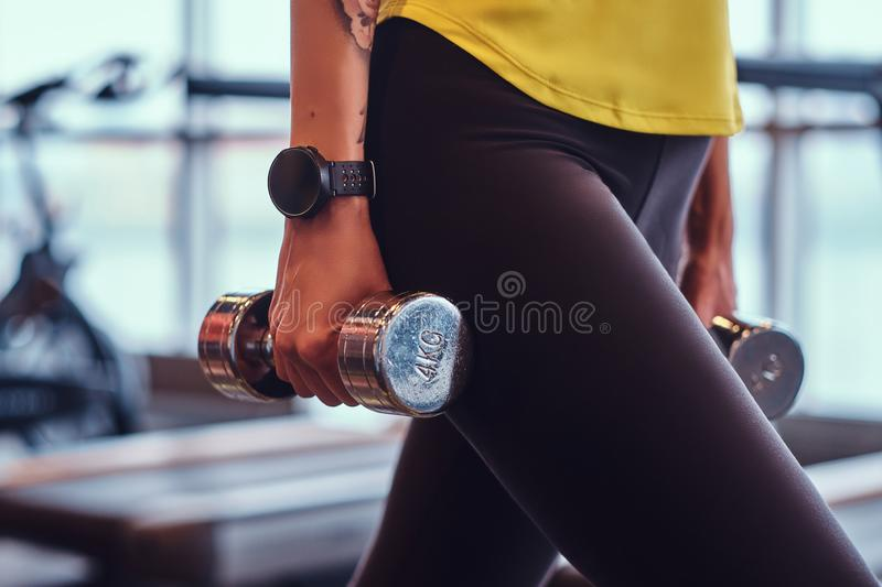 Close-up on a hands with dumbbells. Fitness girl trains in the modern gym. stock photography