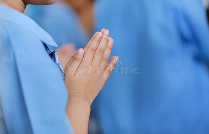 Close-up hands of Student Pay respect teacher on ceremony day.  royalty free stock photos