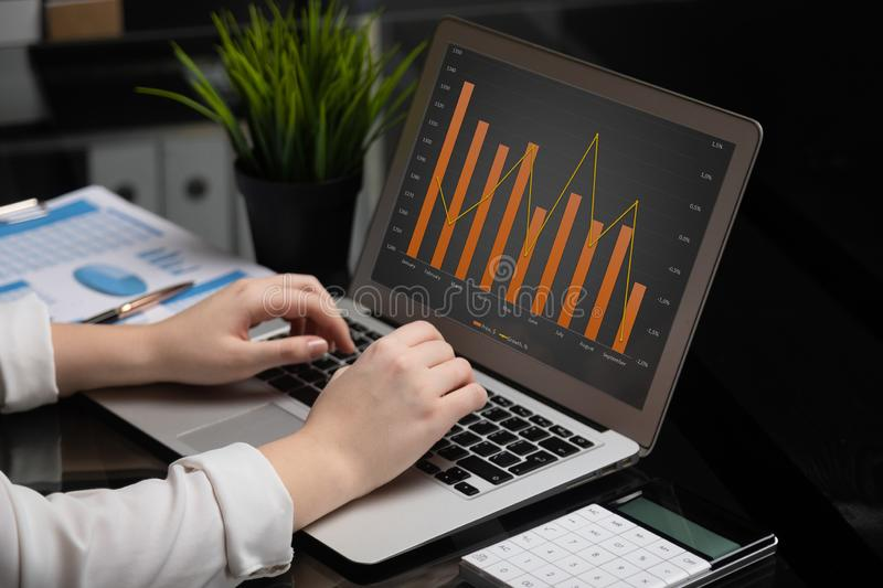 Close-up of hands typing on laptop with blank black screen next to charts and calculator stock images