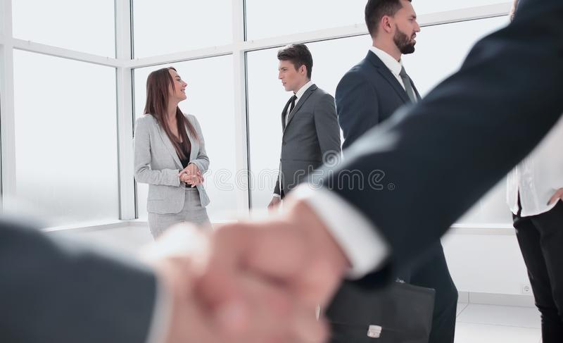 Close up. handshake business people stock photo