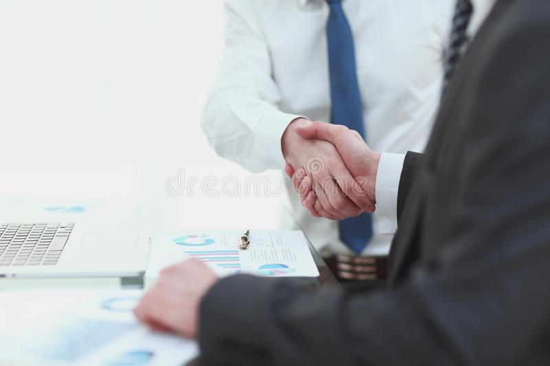 Close up. handshake of financial partners.concept of partnership royalty free stock photography