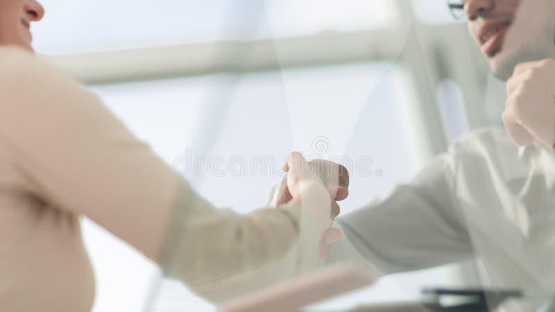 Close up. handshake of international business partners . royalty free stock photo