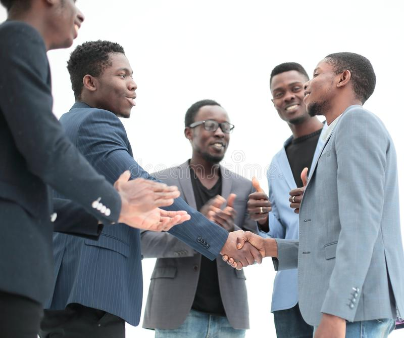 Close up. handshake of young business people stock images
