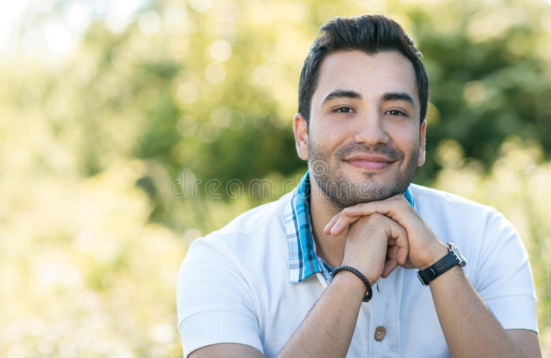 Close up of handsome latin man stock photo