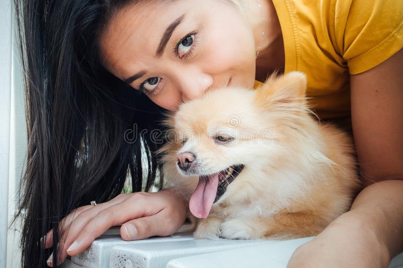 Asian woman play with her Pomeranian dog royalty free stock images