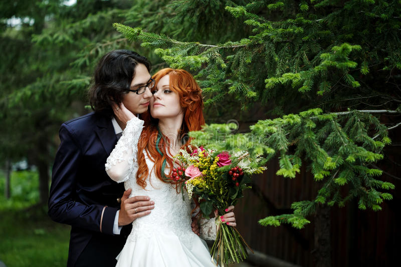 Download Close Up Of Happy Boho Wedding Couple Stock Image
