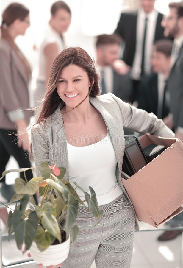 Close up.happy business woman on the background of the new office royalty free stock photos