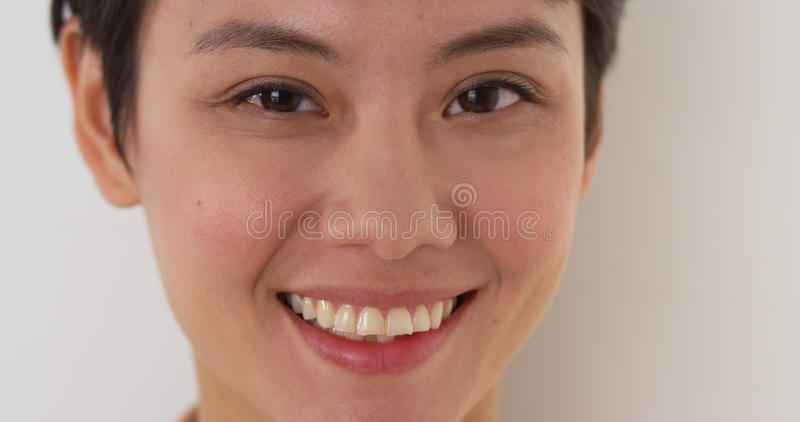 Close up of happy Chinese woman's face stock photos