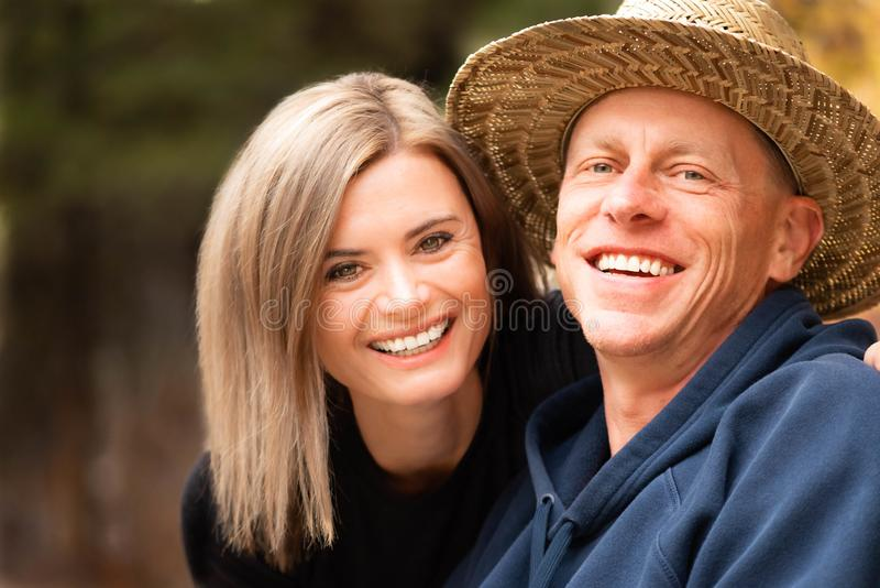 Close up a happy middle age couple outdoors royalty free stock photos