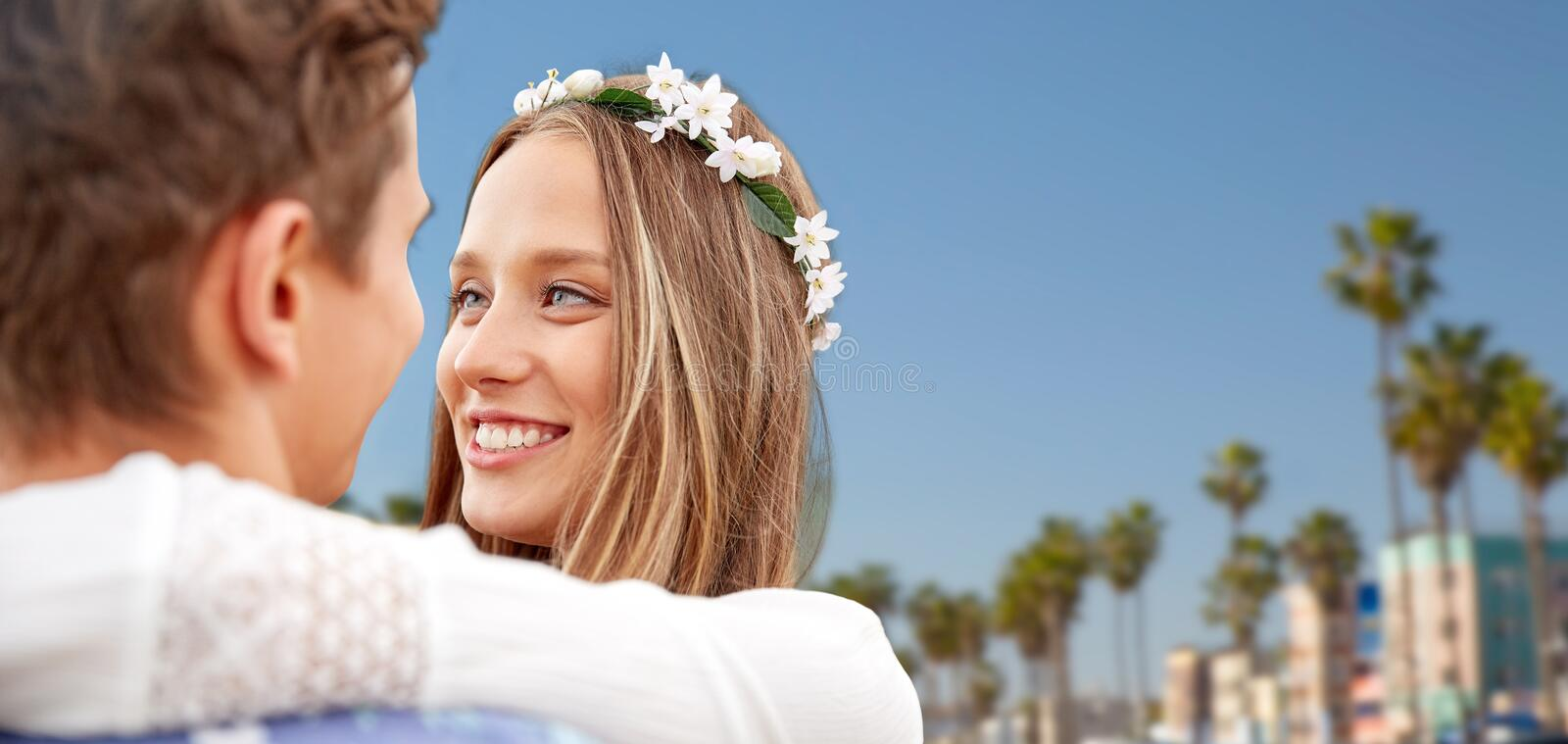 Close up of happy smiling young hippie couple stock photos