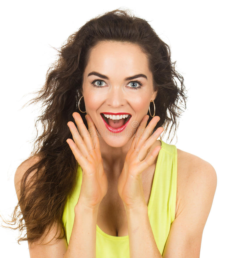 Close-up of happy surprised woman stock images