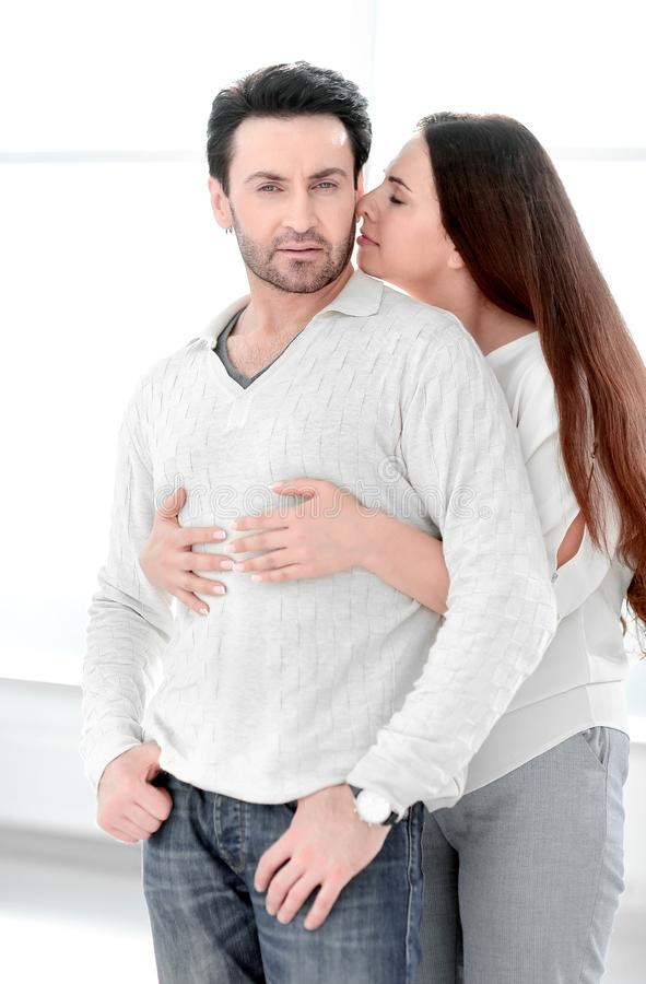 Close up.happy young married couple . stock photos