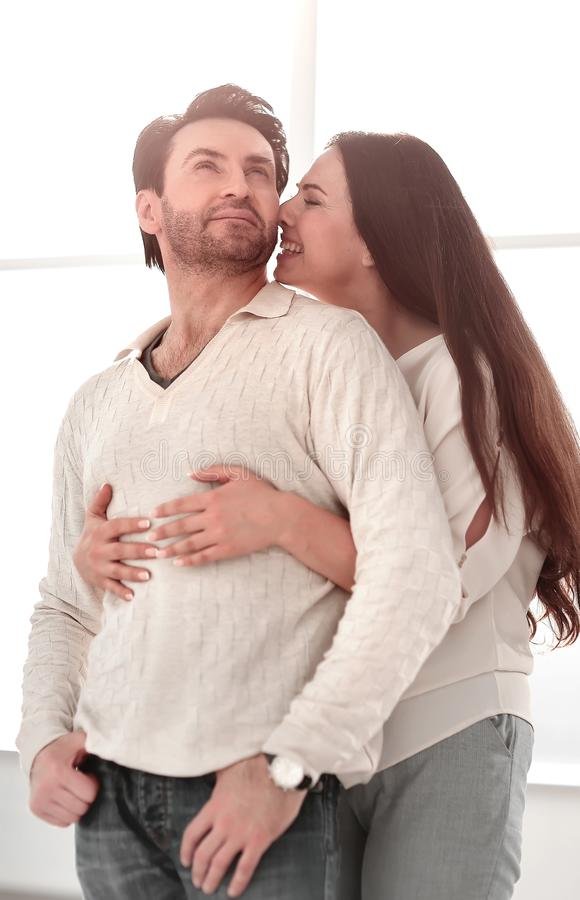 Close up.happy young married couple . stock photography
