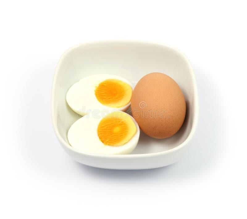 Close up hard boiled egg on white background. Close up hard boiled egg on background royalty free stock image