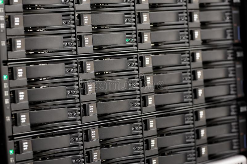 Close-up of Hard Drives In SAN At Large Datacenter. Storage Area Network Hardrive stock images