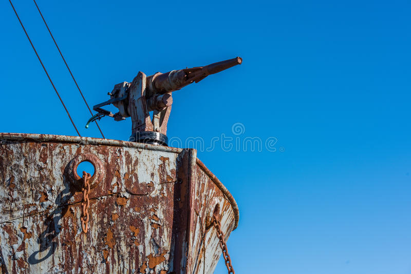 Close-up of harpoon gun on whaler bows stock images