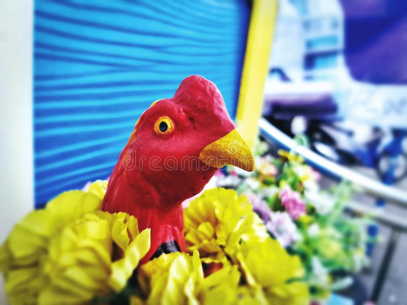 Close-up Head of Colorful Chicken Model royalty free stock photos