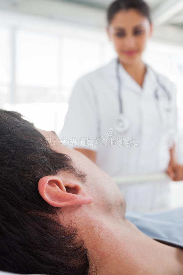 Close up on the head of a patient stock images