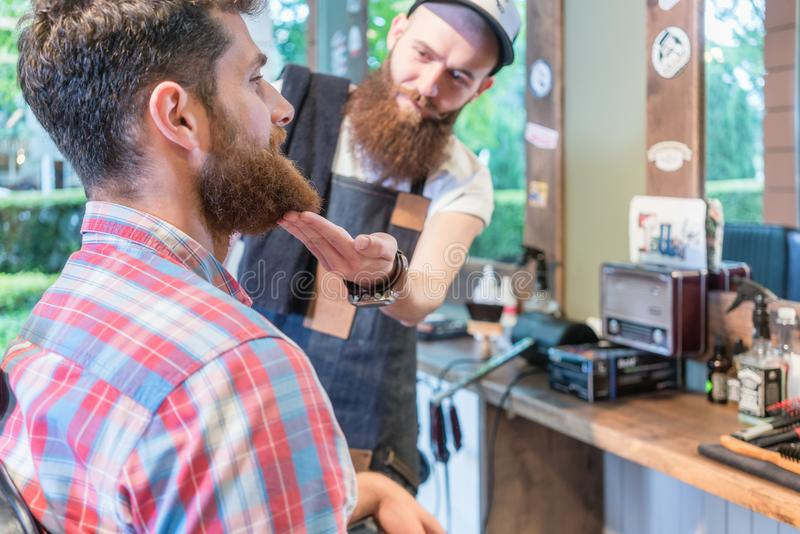 Close-up of the head of a redhead bearded young man ready for a haircut. Close-up of the head of a redhead bearded young men ready for a trendy haircut under the royalty free stock photos