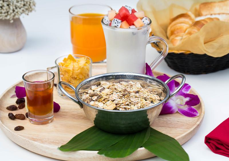 Close up healthy Breakfast set with nice decoration royalty free stock photos