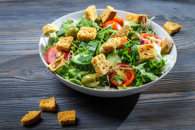 Close-up of a healthy chicken salad stock photos