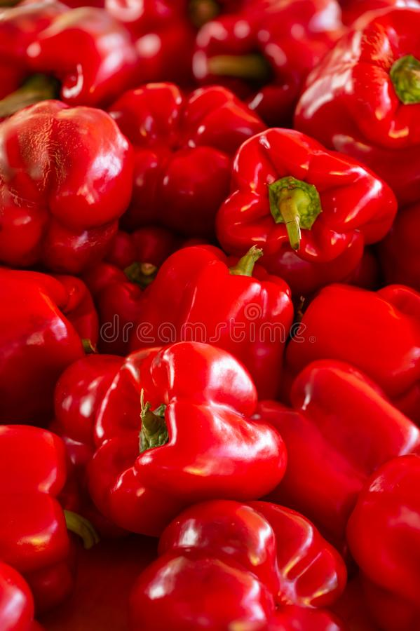 Healthy and Colorful Red Bell Peppers royalty free stock photography